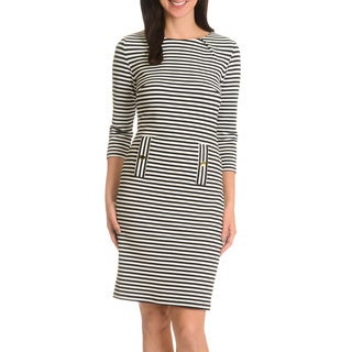 Nina Leonard Women's Textured Horizontal Striped 3/4 Sleeve Dress