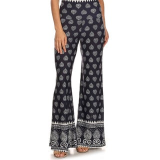 MOA Collection Women's Plus Size Flare Pants with Damask Print