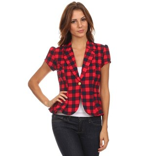MOA Collection Women's Plaid Regular and Plus Size Blazer