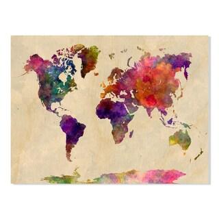 Gallery Direct World Map Watercolor Print on Birchwood Wall Art