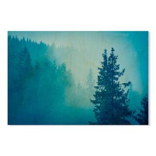 Gallery Direct Misty Forest Print on Birchwood Wall Art