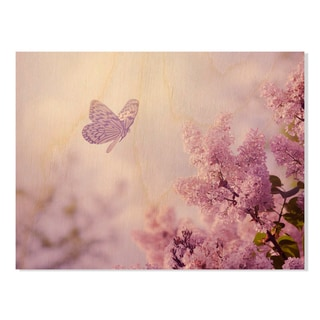 Gallery Direct Butterfly and Pink Flower Print on Birchwood Wall Art