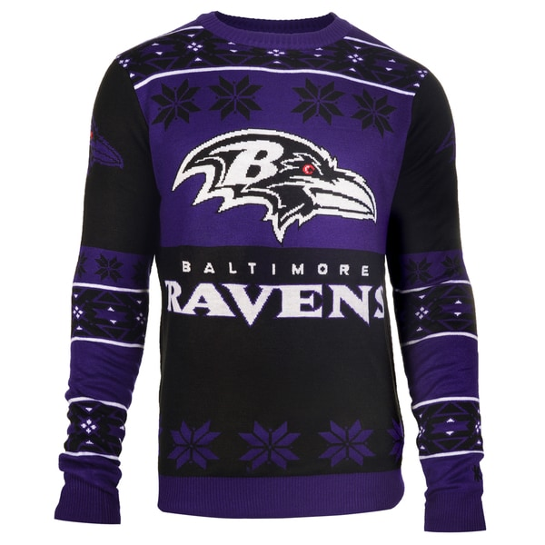 Forever Collectibles NFL Baltimore Ravens Big Logo Crew Neck Ugly Sweater