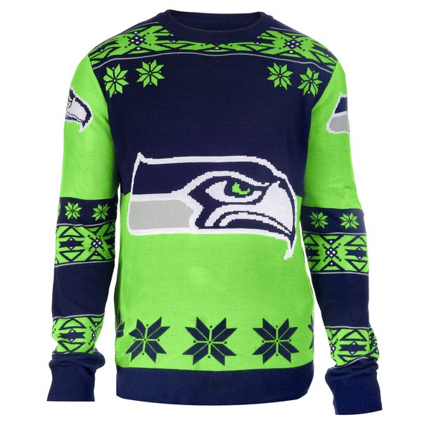 Forever Collectibles NFL Seattle Seahawks Big Logo Crew Neck Ugly Sweater