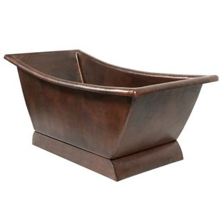 Premier Copper Products 67-inch Hammered Copper Canoa Single Slipper Bathtub - Oil Rubbed Bronze