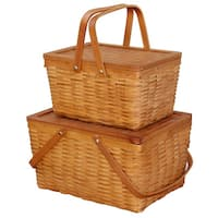Rectangle Handwoven Chipwood Baskets (Set of 2)