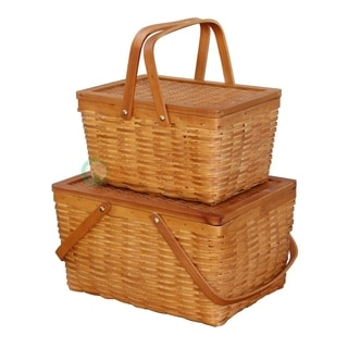 Rectangle Handwoven Woodchip Basket (Set of 2)