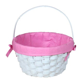 Round Fabric Lined Woodchip Basket (Option: Pink)