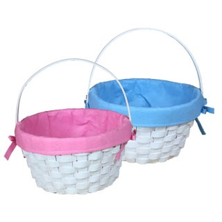 Round Fabric Lined Woodchip Basket (Option: Blue)