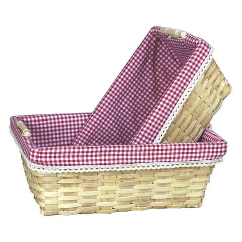 Gingham Lined Shelf Baskets Set of 2