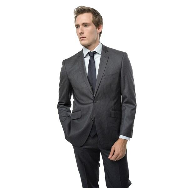 Verno Balbi Men's Grey Pinstripe Slim Fit Two-Piece Suit - Free ...