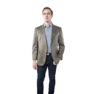 Verno Bellante Men's Light Brown Faux Leather Classic Fit Sports Coat