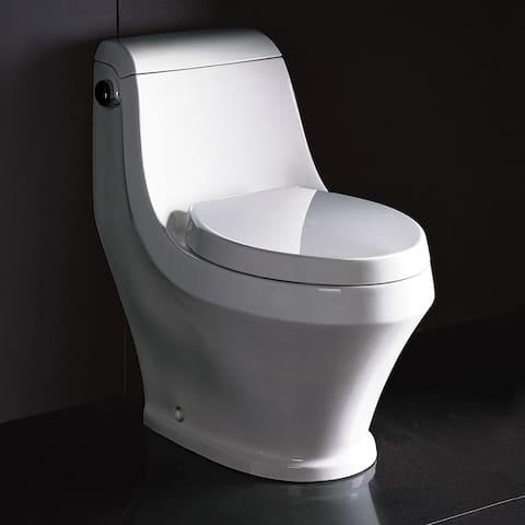 Fresca Volna Contemporary High-Efficiency White Ceramic Elongated Toilet