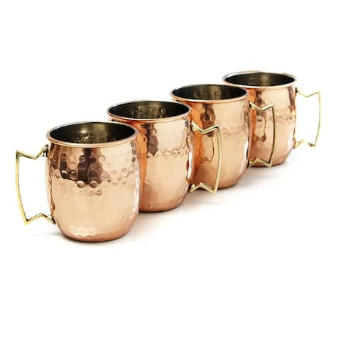 Hammered Moscow Mule Mug Gold Solid Copper and Nickel Lined 16 oz. Brass Handle (Set of 4)