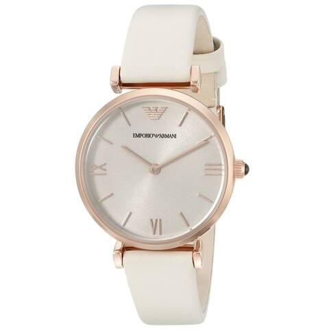 Emporio Armani Women's AR1769 'Gianni' White Leather Watch