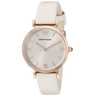 Emporio Armani Women's 'Gianni' White Leather Watch