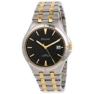 Pulsar by Seiko Men's PXH909 Black Dial Stainless steel Two Tone Watch