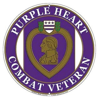 US Purple Heart Combat Veteran Wall Sign