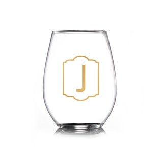 Monogram Gold Stemless Goblets (Set of 4)