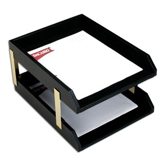 Classic Black Leather Front Load Letter Trays With Gold Stacking Posts