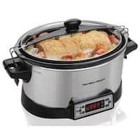 Hamilton Beach Programmable Right Size Silver Stainless Steel and Ceramic Multi-quart Slow Cooker