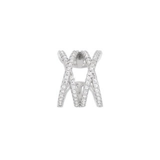 "La Preciosa Sterling Silver CZ Double ""X"" Single Cuff Earrings"