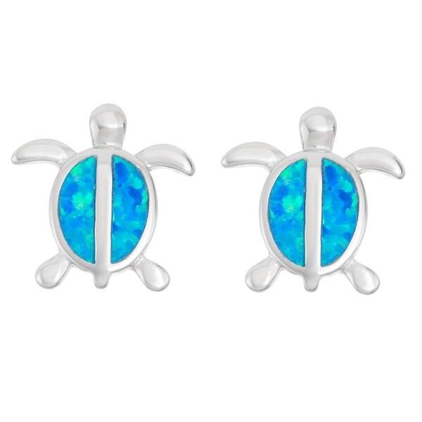 La Preciosa Sterling Silver Opal Turtle Stud Earrings