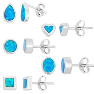 La Preciosa Sterling Silver Blue Opal Stud Earrings (Set of 5)