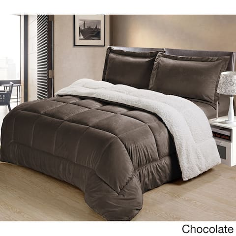 Copper Grove Stephenfield Ultra Plush Faux Suede and Sherpa 3-piece Comforter Set