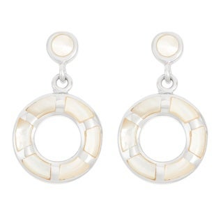 La Preciosa Sterling Silver Mother of Pearl Double Circle Dangle Earrings