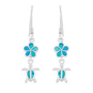 La Preciosa Sterling Silver Blue Opal Flower and Turtle Dangle Earrings