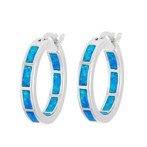 La Preciosa Sterling Silver Opal Inside-Outside Hoop Earrings