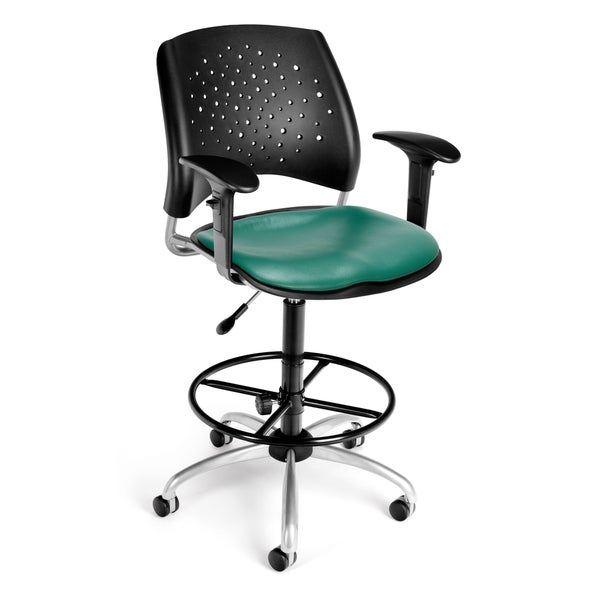Stars Swivel Vinyl Chair with Arms and Drafting Kit