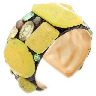 NEXTE Jewelry South African Tswana Stone Cuff Bracelet - Gold
