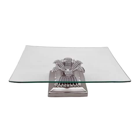 Square Platter on Metal Base