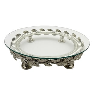 Oval Platter on Metallic Base