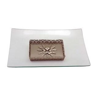 Glass Rectangle Platter on Metallic Base