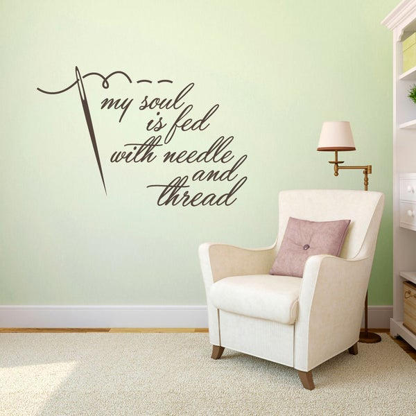 Needle and Thread 48-inch x 32-inch Sewing Wall Decal