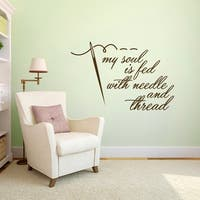 "Needle and Thread Sewing Wall Decal - 48"" wide x 32"" tall"
