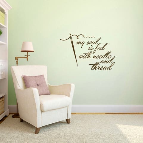 "Needle and Thread Sewing Wall Decal - 36"" wide x 24"" tall"
