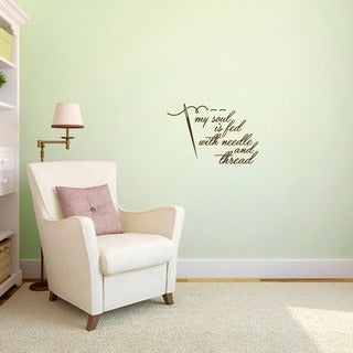"Needle and Thread Sewing Wall Decal - 24"" wide x 16"" tall"