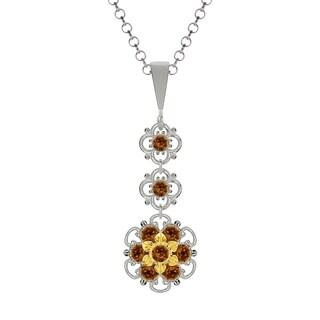 Lucia Costin Silver Brown Austrian Crystal Pendant