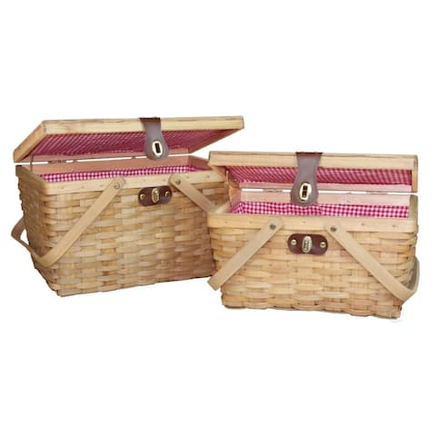 Gingham Lined Wood Picnic Baskets Set of 2