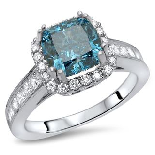 Noori Certified 18k Gold 2 CT TDW Blue Cushion Cut Diamond Engagement Ring (SI1-SI2)