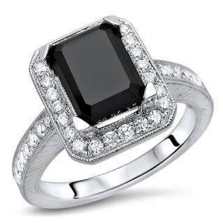 Noori Certified 14k White Gold 2 3/5ct TDW Black Emerald Cut Diamond Engagement Ring
