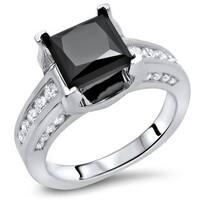 Noori Certified 14k White Gold 2 1/2ct TDW Princess Cut Black Diamond Engagement Ring