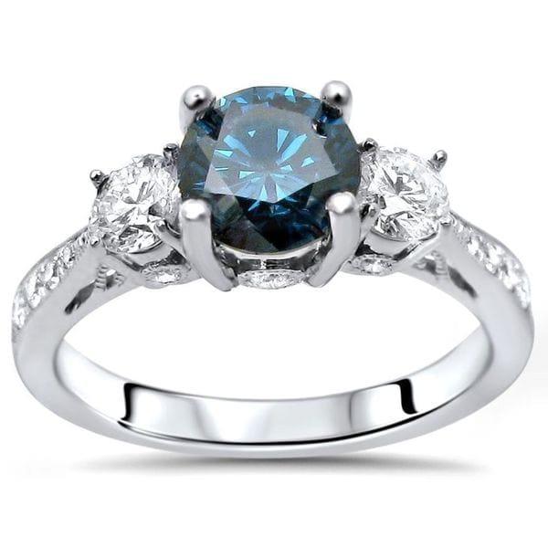 Noori Certified 14k White Gold 1 1/4ct TDW Blue Three Stone Round Diamond Engagement Ring
