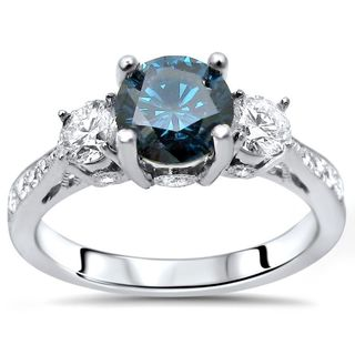Noori Certified 14k White Gold 1 1/4ct TDW Blue Three Stone Round Diamond Engagement Ring (SI1-SI2)