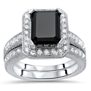 Noori 14k White Gold 2 3/4ct TDW Emerald Cut Black Diamond Engagement Ring Set (G-H, SI1-SI2)