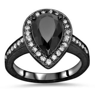 Noori Certified 14k Black Gold 2 2/5 TDW Black Pear Shape Diamond Engagement Ring (SI1-SI2)